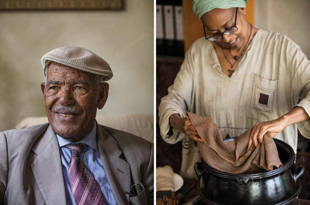 Senait preparing sour bread and Gebreyesus
