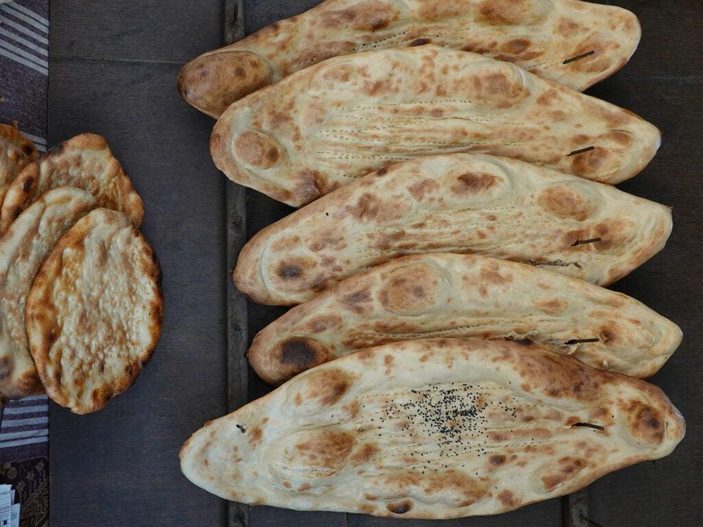 Large diamond-shaped Afghan breads