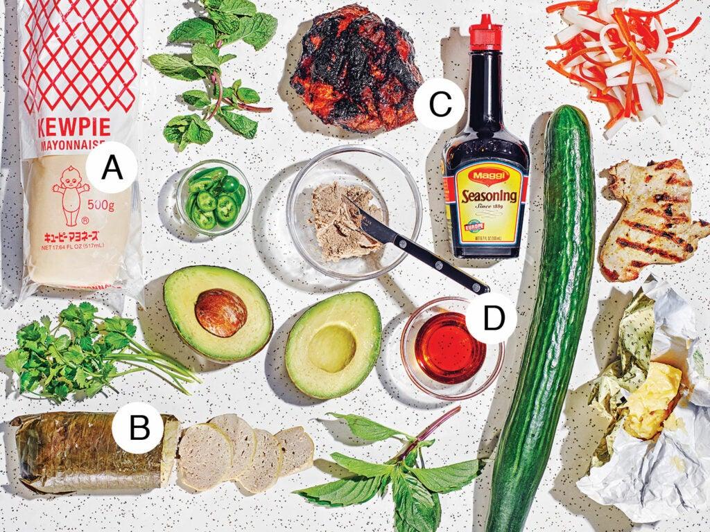 Banh mi ingredients and seasoning
