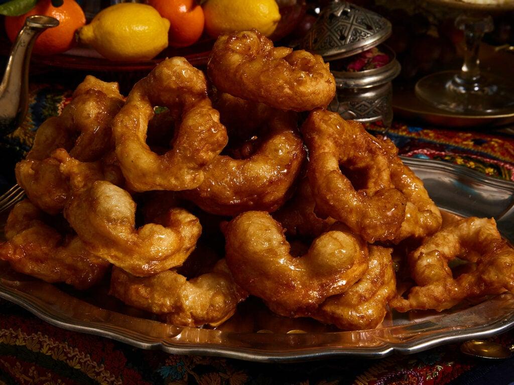 sticky-sweet fried doughnut