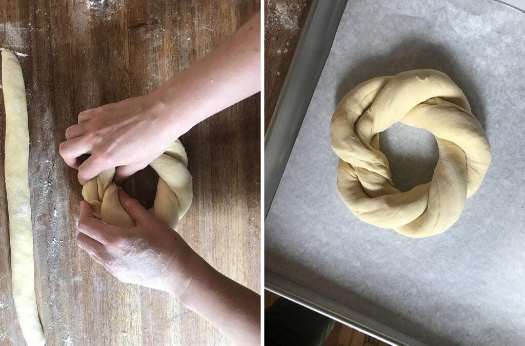 Easter Bread dough circle