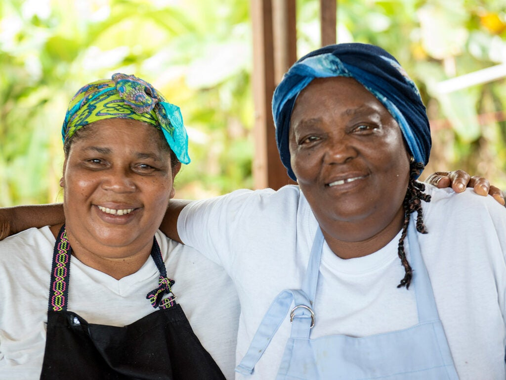 Colombian women smiling for camera