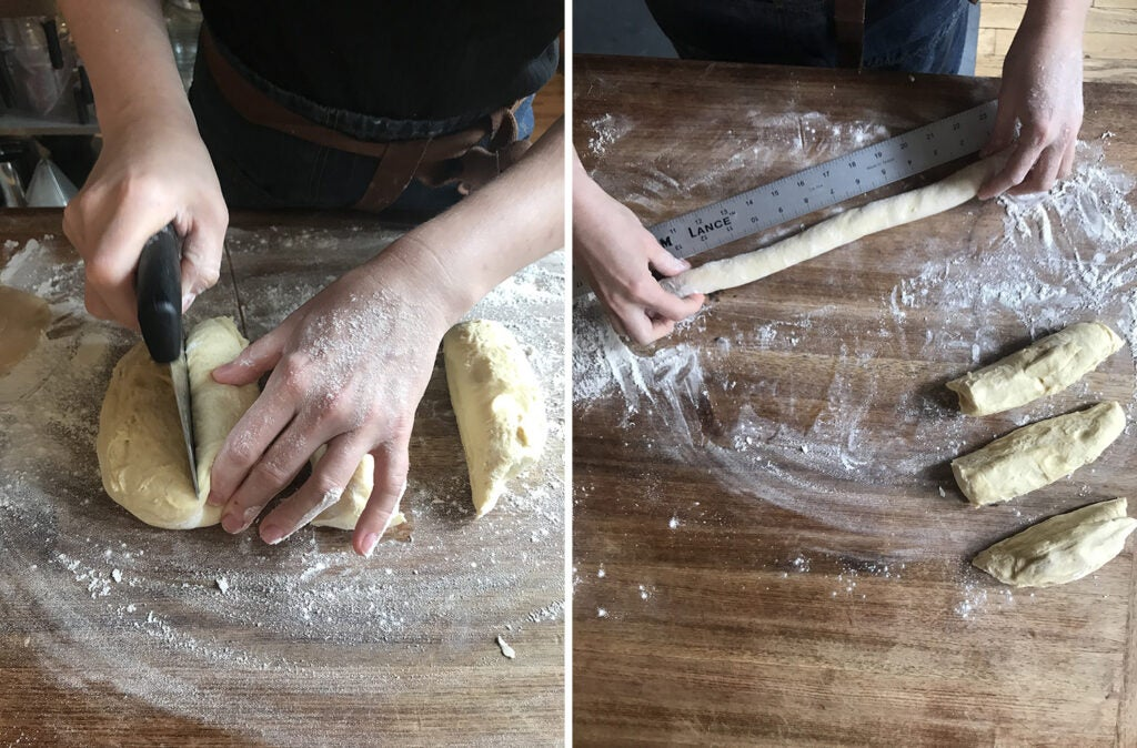 cutting and shaping easter bread dough