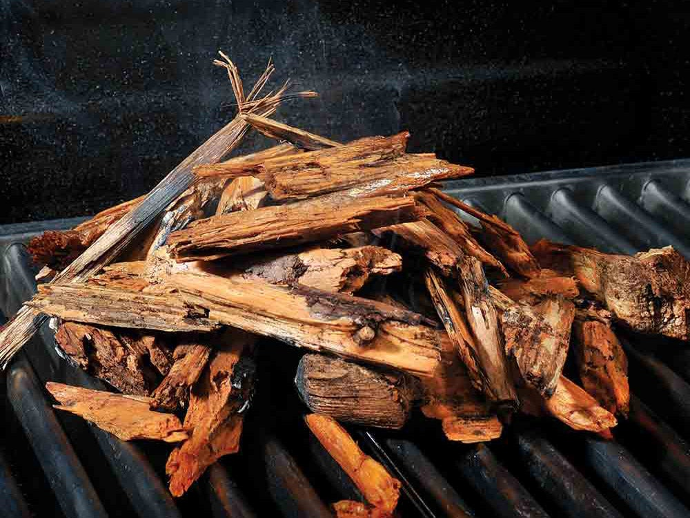 Wood chips on the grill