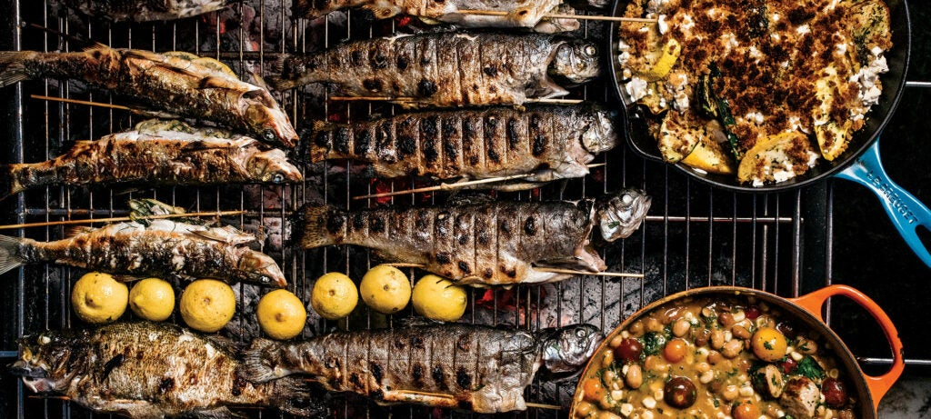 Whole fish on a grill
