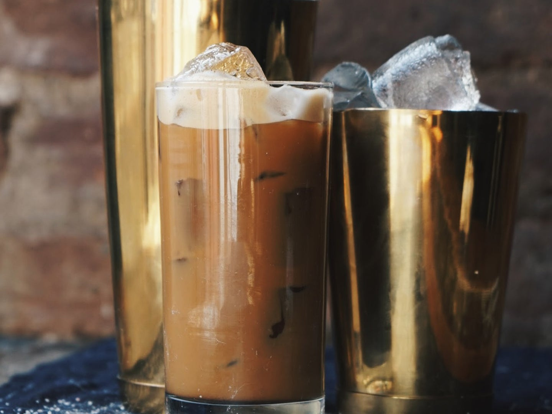 sea salt vietnamese shakerato in tall glass with ice