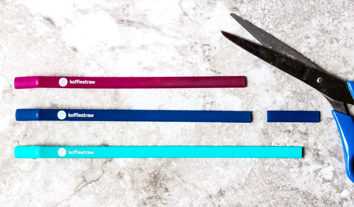 """Koffie Straw NAVY in both sizes (2 straws: 8"""", 10"""", and a brush)"""