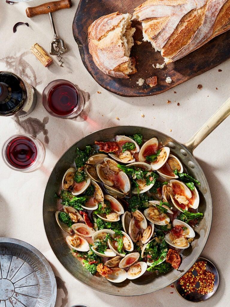 Clams with Broccoli Rabe and Crispy Prosciutto in Tomato-Wine Sauce