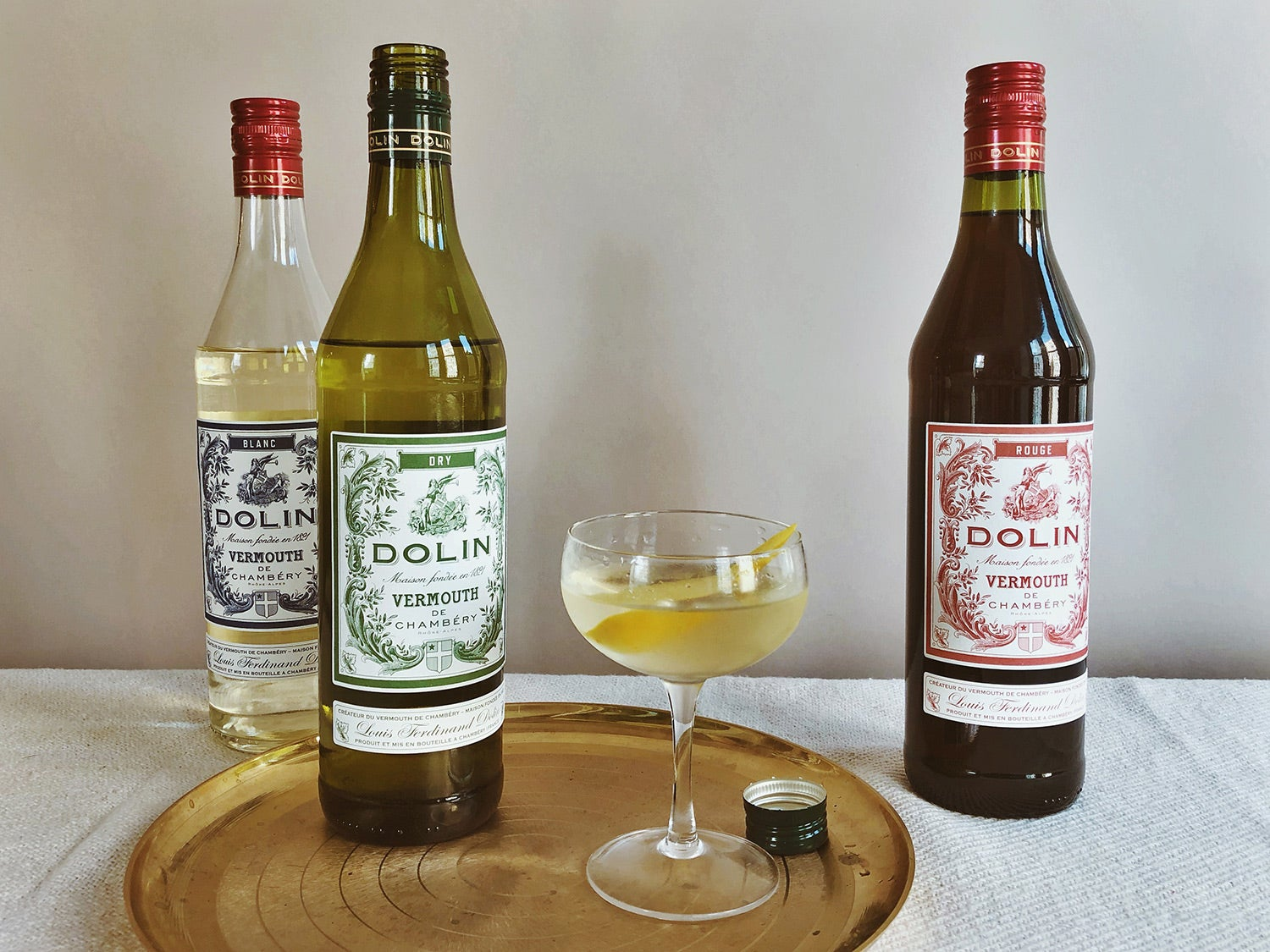 Dolin Vermouth de Chambéry on gold tray