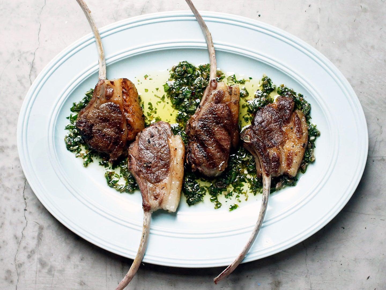Lamb Chops with Mint Salsa Verde
