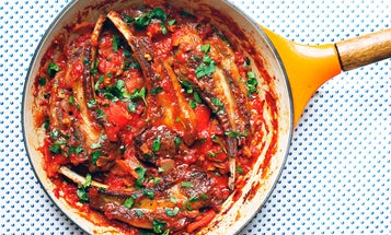Calabrian Lamb Chops with Tomatoes, Peppers, and Olives (Costolette d'Agnello alla Calabrese)
