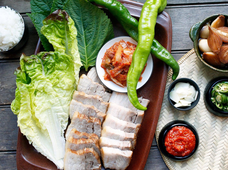 Korean Pork-Belly Wraps (Bo Ssam)