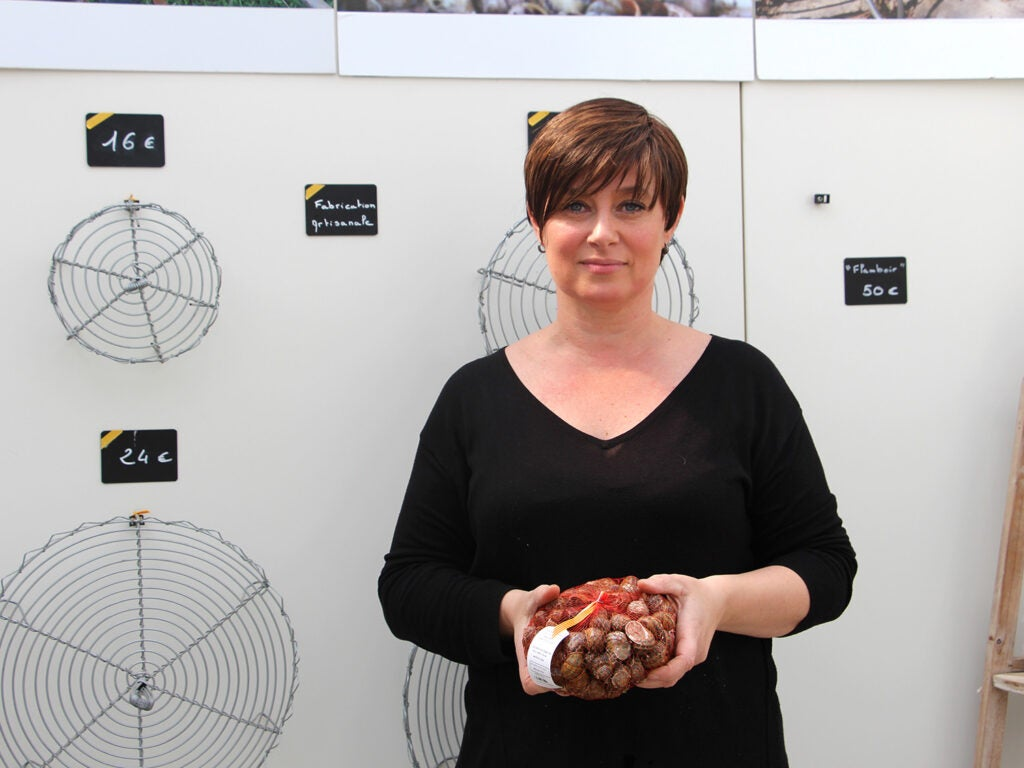 Cathy Joly at her snail farm in Toulouges