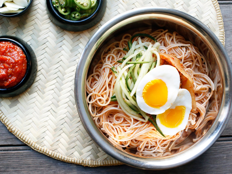 Korean Spicy Cold Noodles (Bibim Guksu)