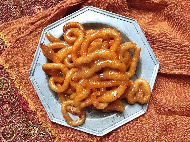 Indian Fried Dough with Saffron Syrup (Jalebi)