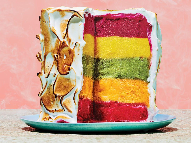 Rainbow Baked Alaska