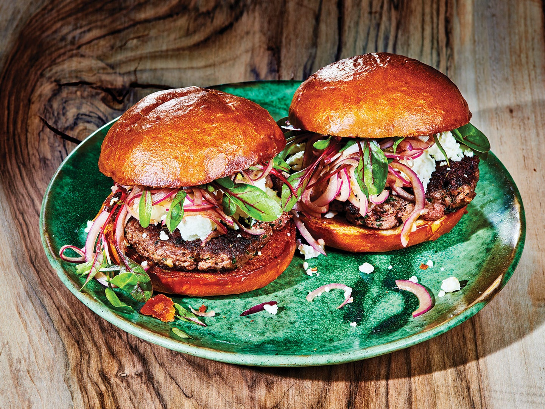 Lamb Burger with Mint, Feta, and Balsamic Onions