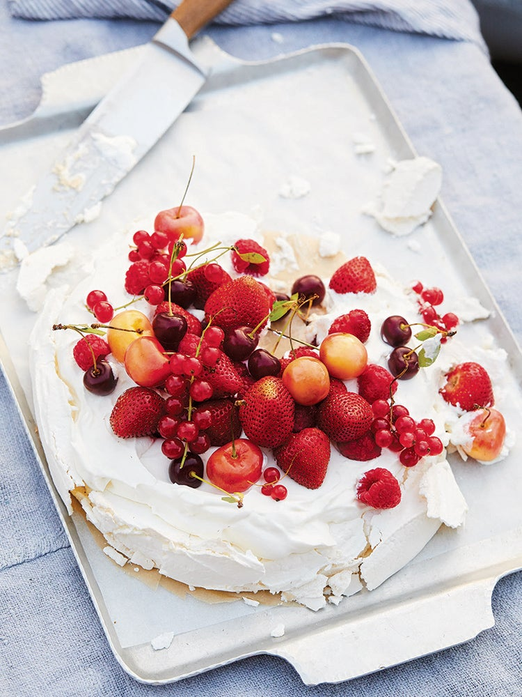 summertime fruit and cream pavlova