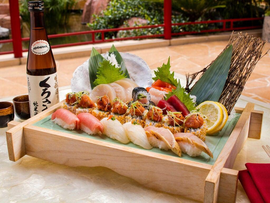 An artful sushi platter