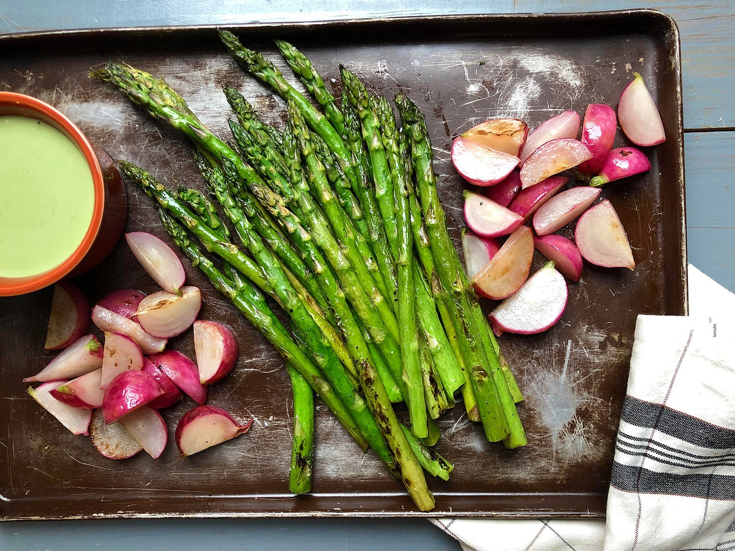 Roasted Asparagus with Tahini Ranch