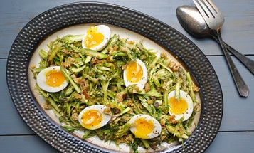 Shaved Asparagus Salad with Garlicky Breadcrumbs