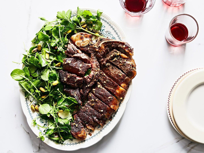Bistecca alla Fiorentina with Watercress and Pistachio Salad