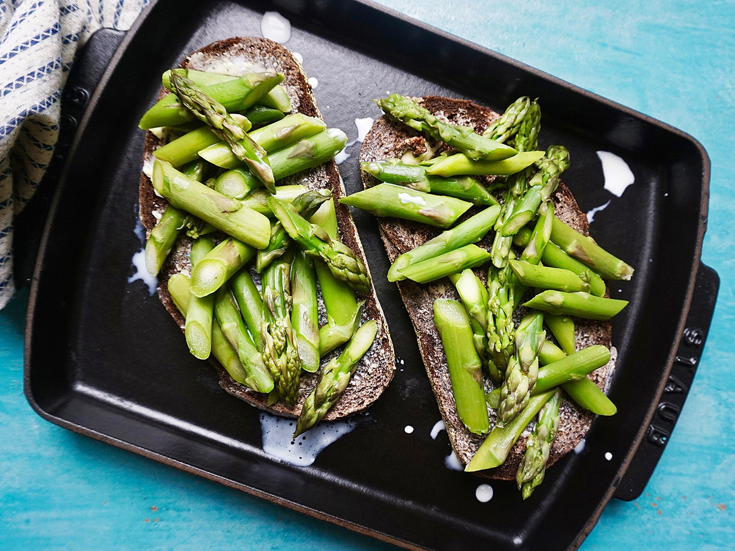 blanched asparagus toast