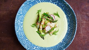 Chilled Asparagus Soup with Herbed Shrimp