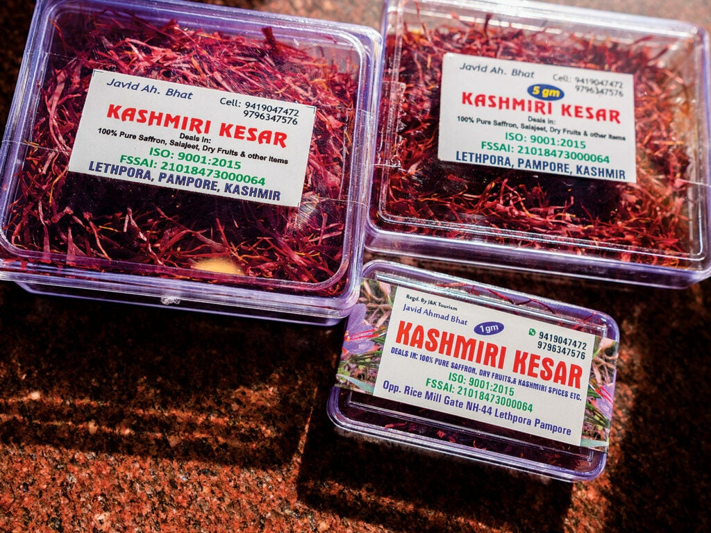 Packaged saffron ready for sale