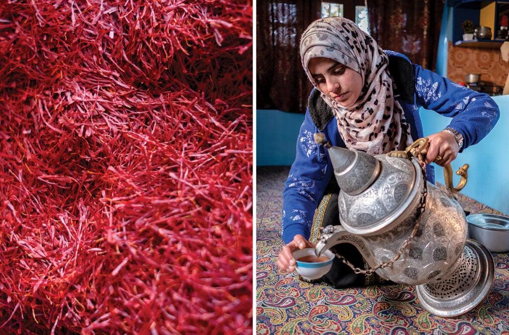 dried saffron and woman pouring saffron tea
