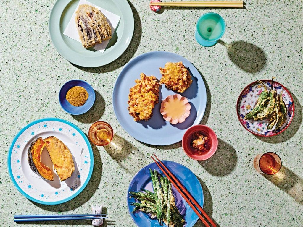 tempura dishes arranged on table