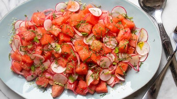 Watermelon Salad with Habanero-Pickled Onions and Lime Salt