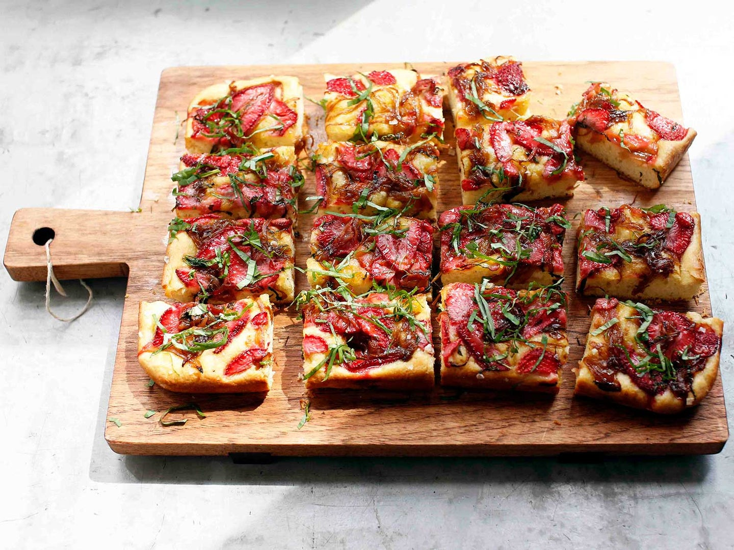 Strawberry Focaccia with Maple-Balsamic Onions