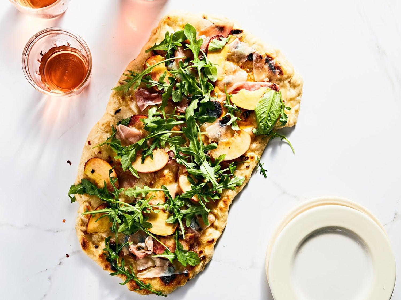 Grilled Pizza with Peaches, Prosciutto, and Arugula