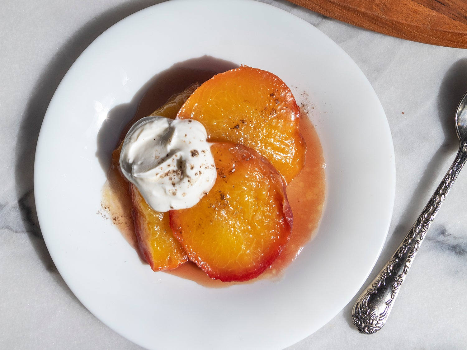 Roasted Peaches in Bourbon Syrup with Smoked Salt