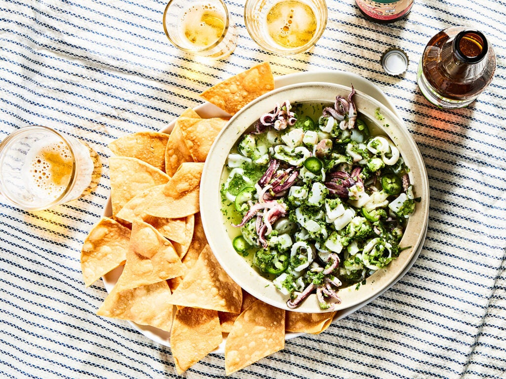 Ceviche Verde with Homemade Tortilla Chips