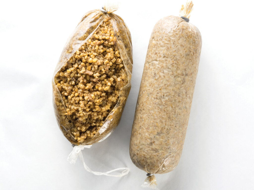 Haggis wrapped in disposable plastic casings.