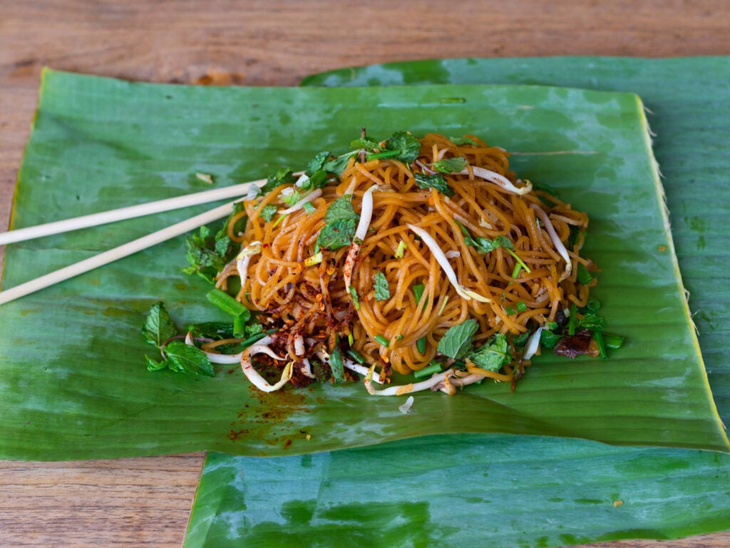 Khua mee on banana leaf.
