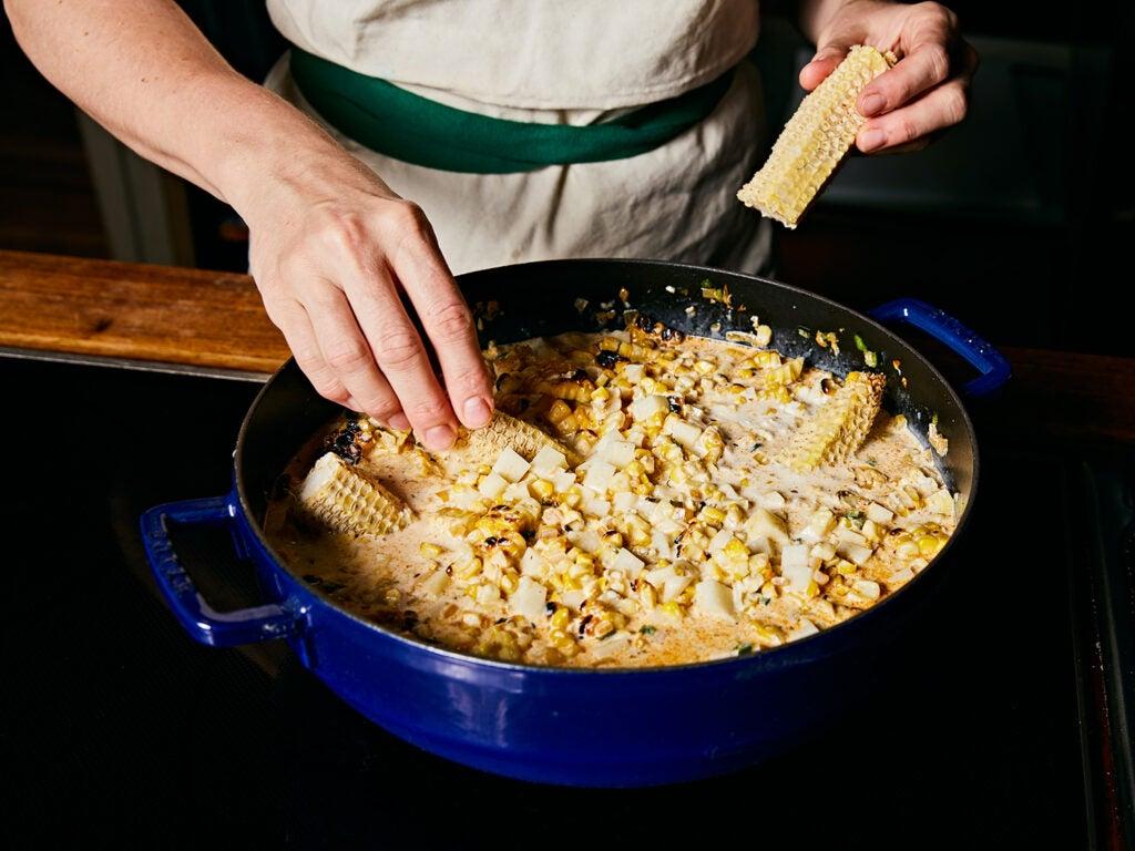Corn cobs in mixture.