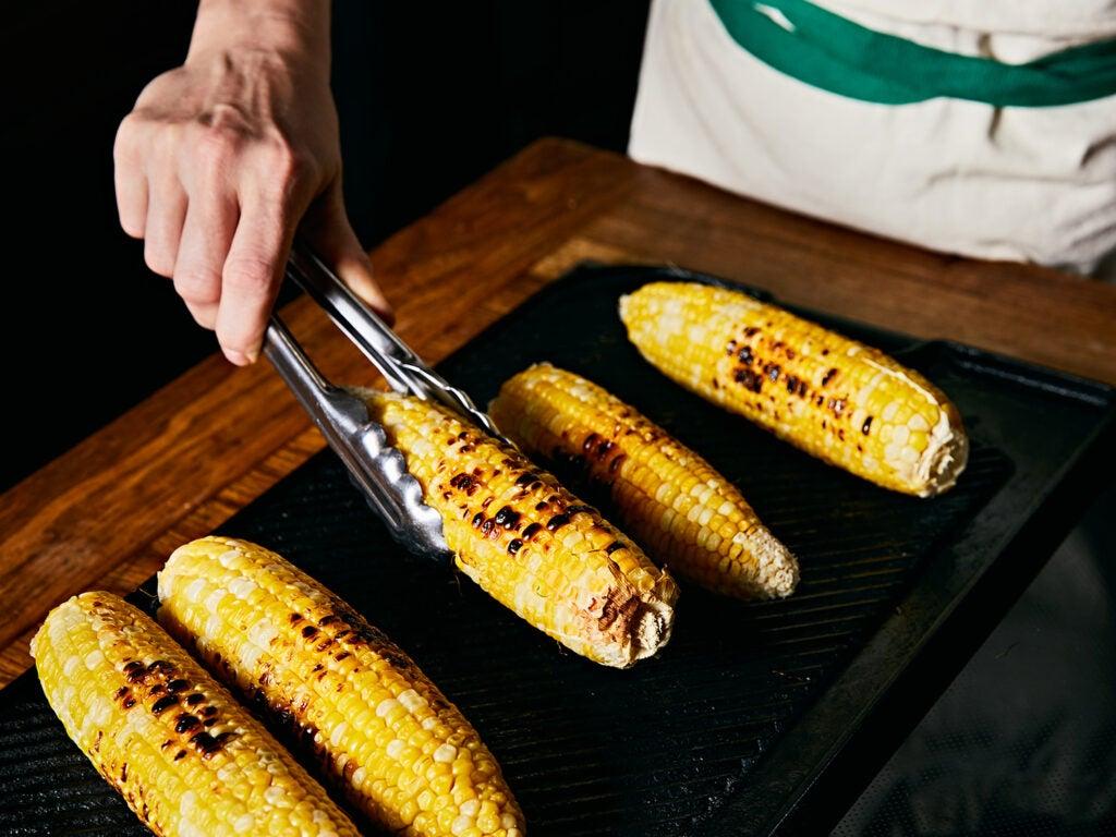 Grilling corn.
