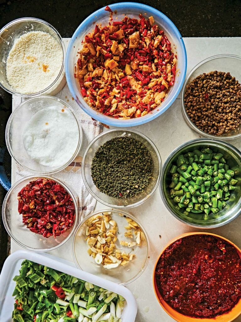 Numbing Sichuan peppercorns and dried and fresh local chiles