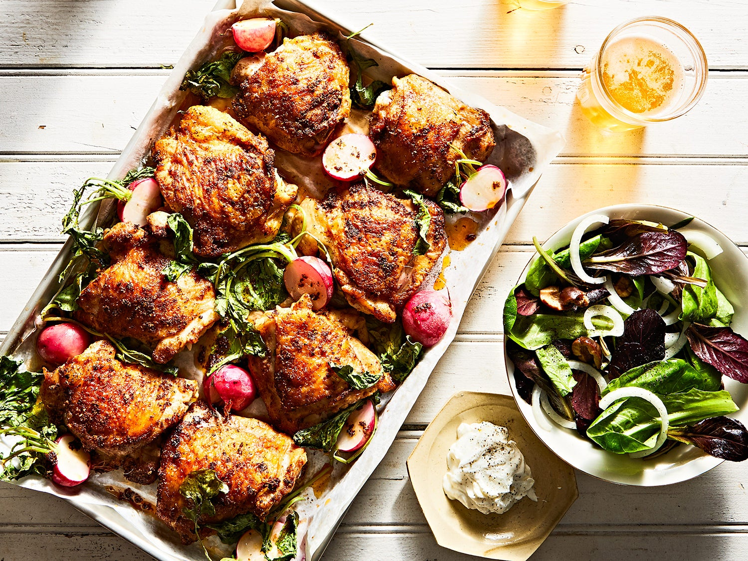 Shawarma-Spiced Chicken Thighs with Roasted Radishes