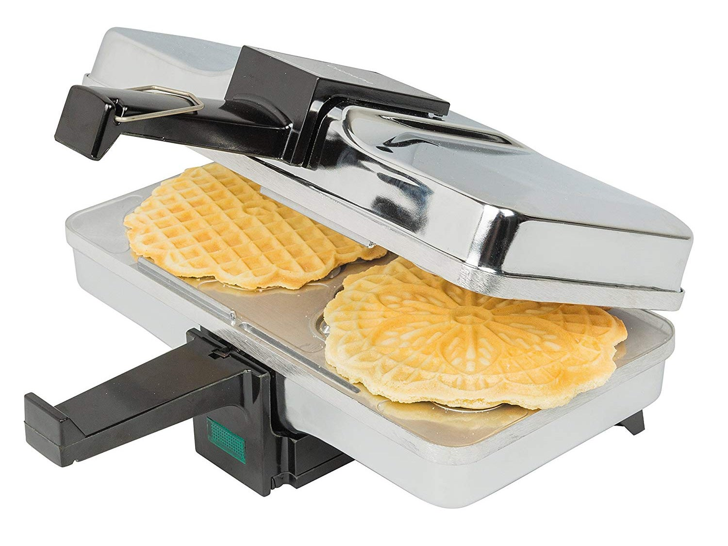 Pizzelle Maker- Polished Electric Pizzelle Baker Press Makes Two 5-Inch Cookies at Once- Recipes Included