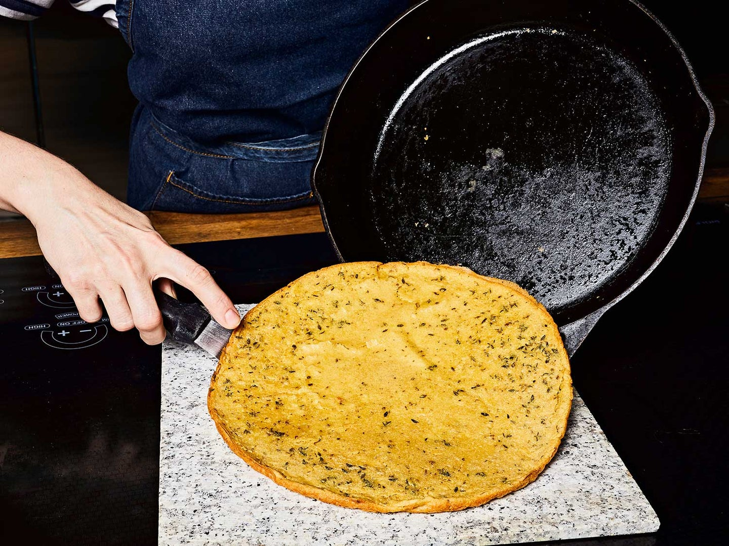 A thin offset spatula will help you remove the farinata from the skillet in one piece.