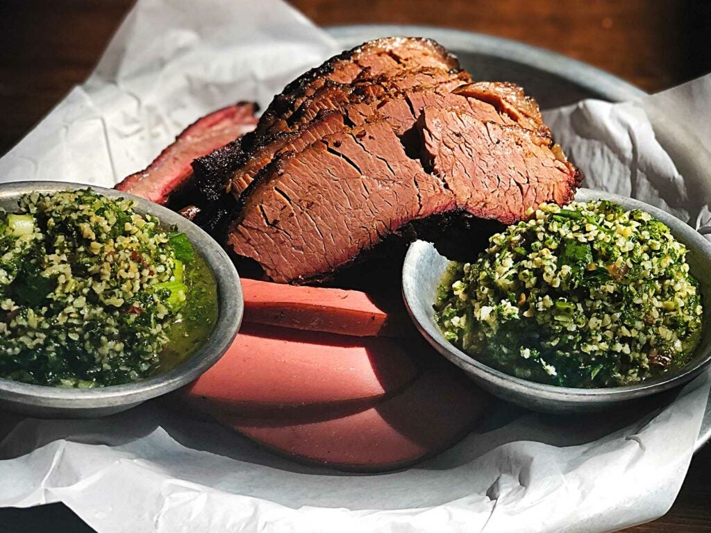 Smoked bologna is served alongside brisket and tabbouleh at Albert G's.
