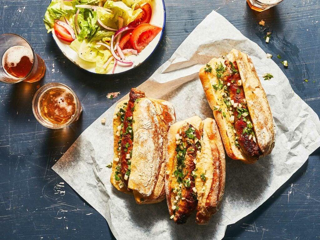 Grilled Chorizo Sandwiches with Chimichurri (Choripán)