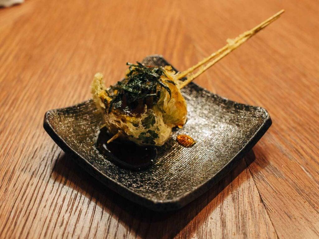Kikuya's chicken meatball and green pepper tempura