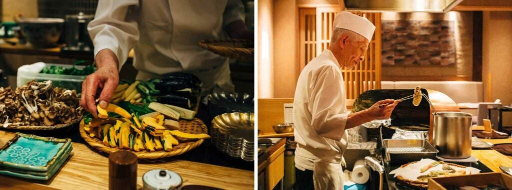 Seasonal ingredients line the counter while tempura chef Bunji Nishidate works his magic.