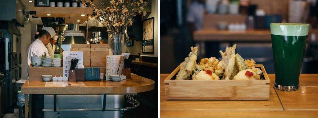 Kikuya's tachinomi-style tempura bar and beverages