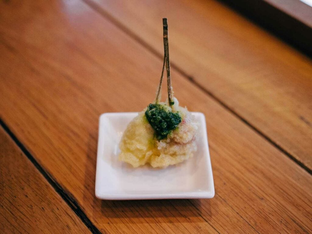 Caprese tempura, topped with fragrant basil sauce.